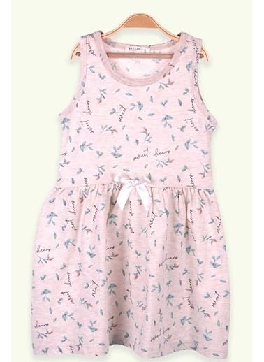 Breeze Kız Çocuk Elbise Çiçek Desenli Fiyonklu Bej Melanj (6-10 Yaş) Bej
